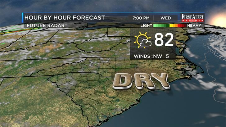 Drier air finally sweeps into SE NC for Wednesday. (Source: WECT)