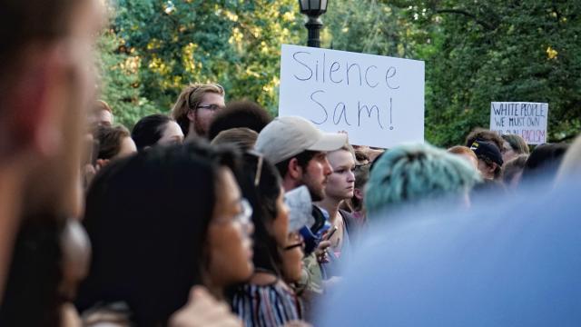 Hundreds protest at UNC-Chapel Hill Silent Sam monument; 3 arrested