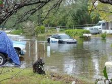 Hurricane Florence: Police car flooded in Wilmington