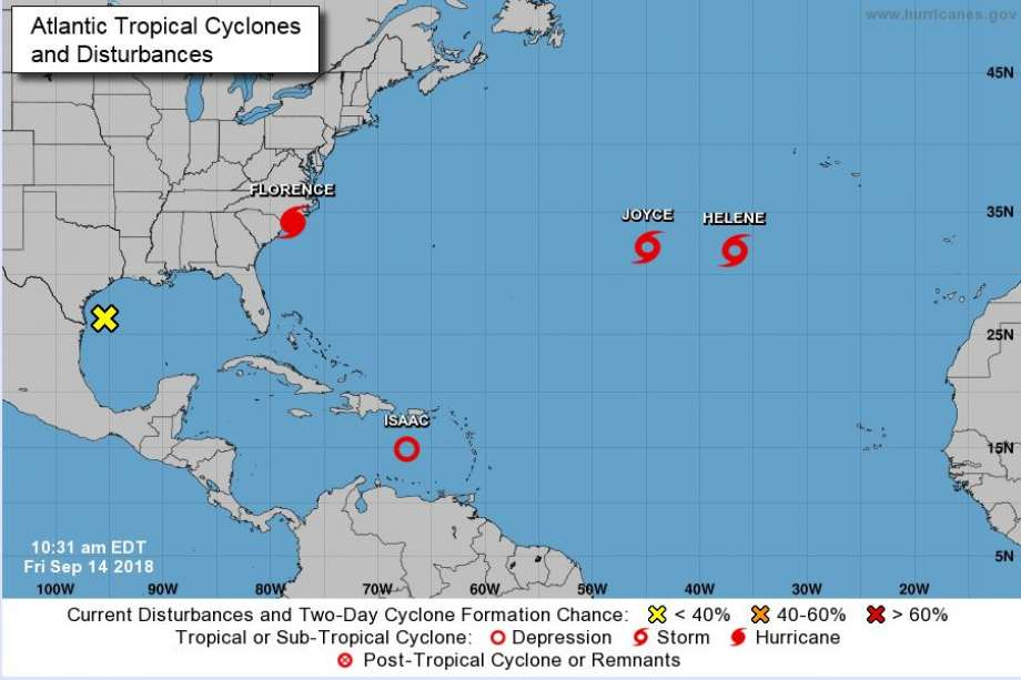 The yellow 'X' can be seen on the Texas Gulf Coast, bringing wet weather to the state over the next few days.  Photo: NOAA