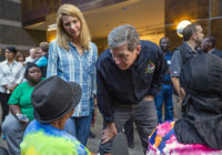 Gov. Cooper visits with evacuees at UNC hurricane shelter