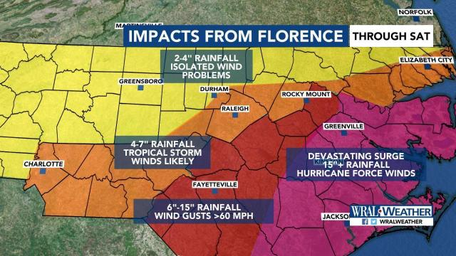 Timeline: When and where will Florence be felt?