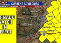 Tornado Watch in effect east of Austin