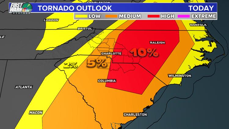 Charlotte area tornado outlook Friday April 19