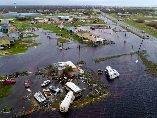 Aerial photo from Rockport after Hurricane Harvey, Aug. 27, 2017.