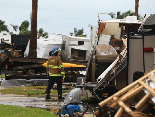 A view just after Hurricane Harvey of the Island RV