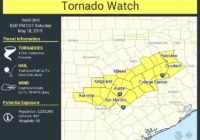Tornado Watch Issued For Central Texas Until 8 PM Tonight