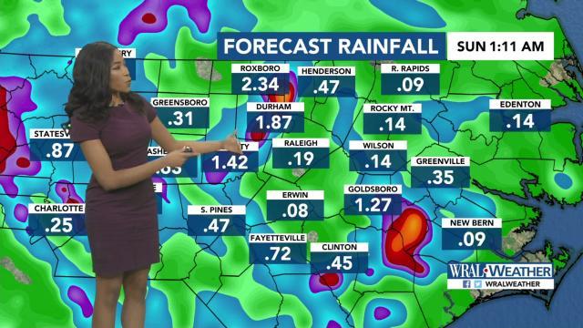Rainfall forecast for Saturday, June 8, 2019