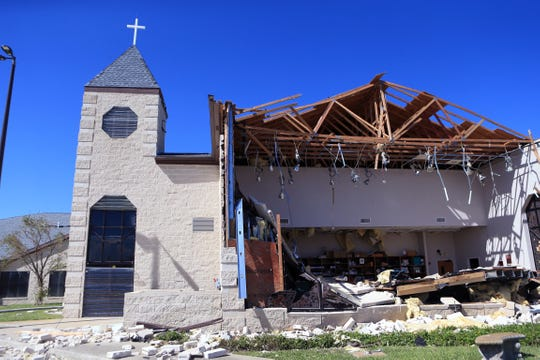 The First Baptist Church in Rockport in Rockport, TX lost an entire stained glass wall into their choir room during Hurricane Harvey as seen here on Tuesday, August 29, 2017.