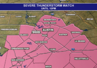 Severe weather threat continues for areas east and south of Austin