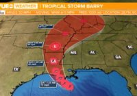 Tropical Storm Barry slow-moving and gaining strength