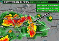 Heavy rain, lightning moving through south Charlotte; flash flood warning in effect