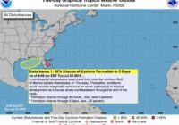 Hurricane center issues low chances for Gulf storm development