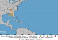 A trough of low pressure over the South may turn into a tropical storm
