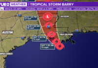 Tropical Storm Barry expected to make landfall tomorrow morning