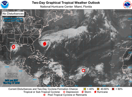 The disturbance in the Gulf of Mexico is now officially Tropical Storm Imelda.