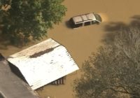 Ariel views show devastating flooding in Huffman