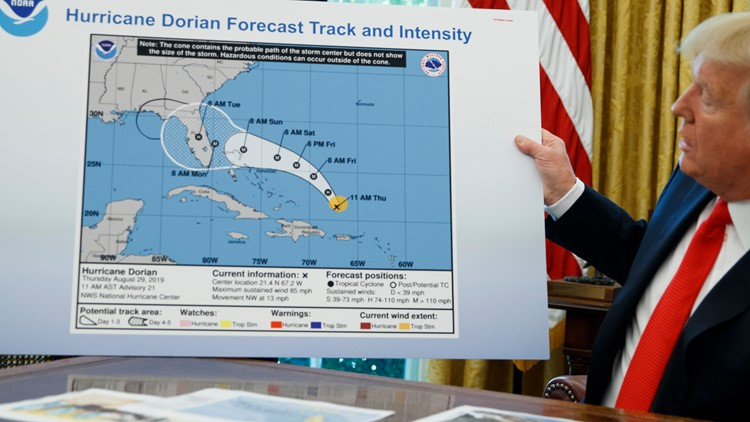 Trump Hurricane Dorian blown up map with Alabama