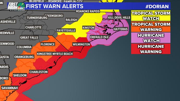 Hurricane Dorian Watches and Warnings Tuesday 5