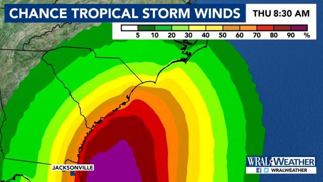 Chance for tropical storm force winds