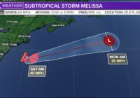 Subtropical Storm Melissa forms off US coast