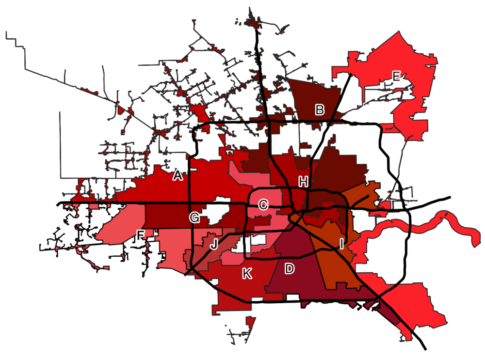 City Council District Map for the City of Houston