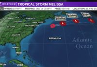 Tropical Storm Melissa forms off Northeast coast