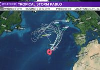 Tropical Storm Pablo speeds away from the Azores in the Atlantic