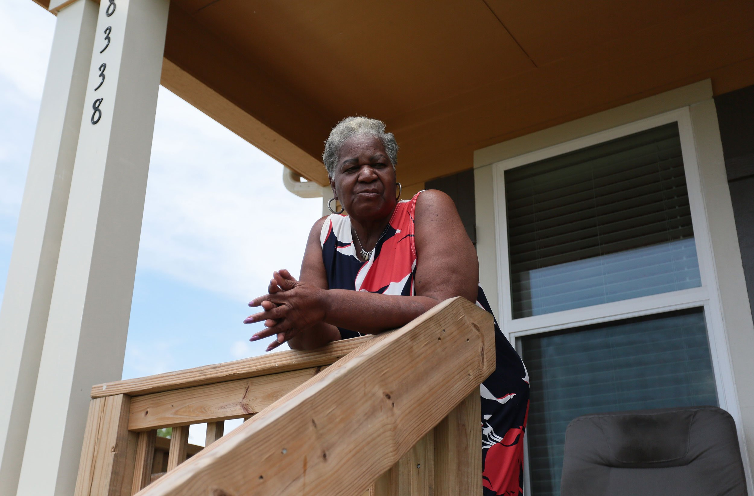 Beatrice Sanders now lives in a home elevated six feet off the ground in Port Arthur's Montrose neighborhood.