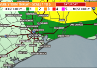 Cold front expected this afternoon. Severe weather not likely.