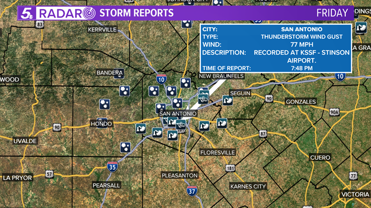 Friday storm reports