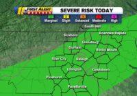 Central NC under severe weather risk, damaging winds possible