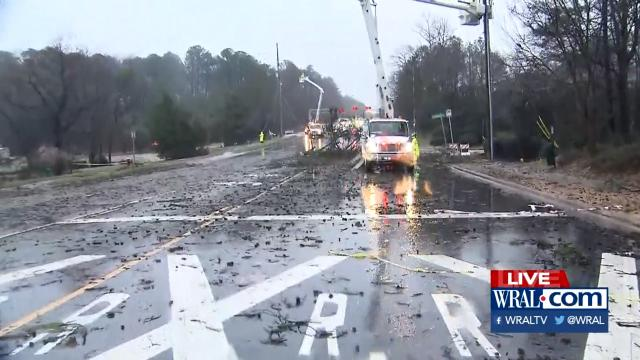 Tree down, power out on Durant Road in Raleigh