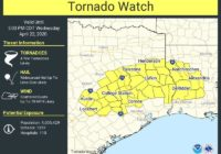 Tornado Watch Remains In Effect For Bastrop And Caldwell Counties Until 5 P.M.