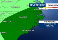 Scattered thunderstorms and showers expected all day, damaging winds possible
