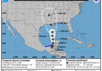 Tropical Storm Cristobal continues moving north