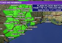 Flash Flood Watch goes into effect from tonight through tomorrow morning
