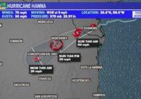 FORECAST: The 90's continue; Hanna now a Tropical Storm