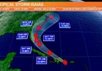 The track of Tropical Storm Isaias shifts slightly east