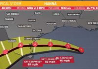 Tropics update: Tropical Storm Hanna shifts south, but Houston area still expecting downpours