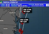 Tropical Storm Fay Moves North But Sets Record