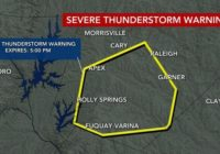 Severe Thunderstorm Warning issued for Wake County, flood warning for Durham County