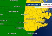 Level 2 risk for severe weather in place, chance of heavy rain and tornadoes