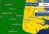 Chance for damaging winds, rain and tornadoes Saturday afternoon