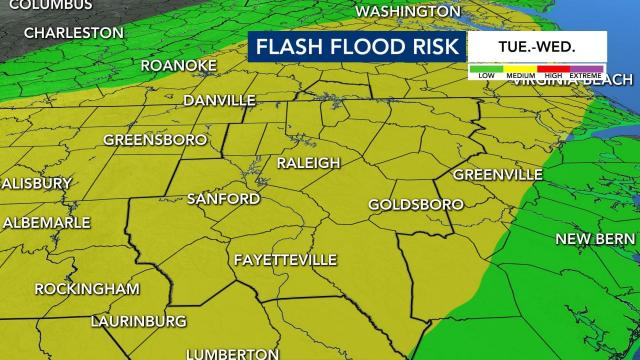 There is a medium risk for flooding in our area starting Tuesday