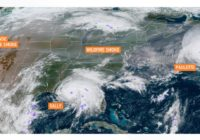 Satellite image shows wildfire smoke reaching the eastern US as hurricanes churn