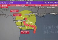 Tropical Storm Beta expected to become a hurricane this weekend