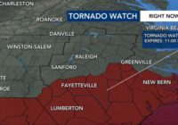Steady rain continues in the Triangle; Tornado Watch still in effect for central NC