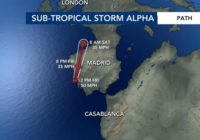 Tropical Storm Beta forms in Gulf of Mexico; Subtropical Storm Alpha hits Portugal