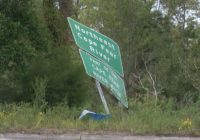 Several road signs remain damaged nearly two months after Hurricane Isaias